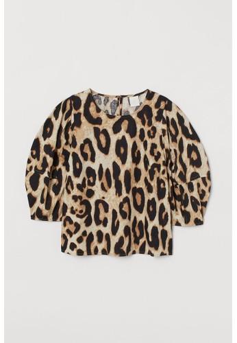 H&M beige Puff-sleeved blouse E4E41AA63B2FC4GS_1