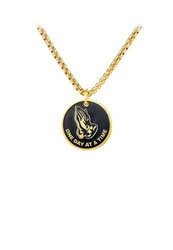 Glamorousky silver Fashion Personality Plated Gold Geometric Circle Prayer Hands 316L Stainless Steel Pendant with Necklace 87227ACD19B8A9GS_1