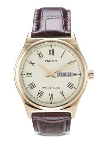 Casio MTP-V006GL-esprit 童裝9BUDF 羅馬數字皮革手錶, 錶類, 其它錶帶