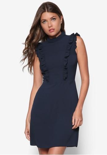 荷葉飾高領洋裝zalora 包包評價, 服飾, 洋裝