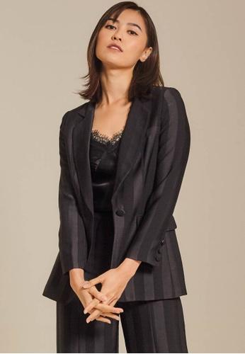 Dressing Paula black Striped Satin Blazer 4D7C9AA2767EEAGS_1