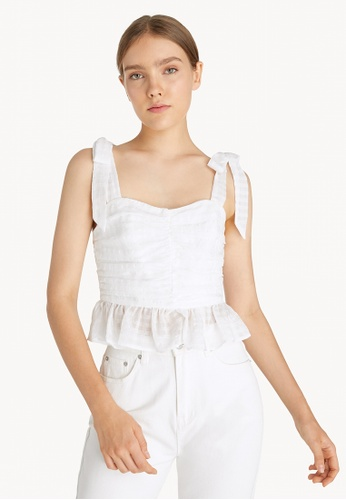 Pomelo white Gingham Tie Shoulder Top - White 8837BAA6D36863GS_1