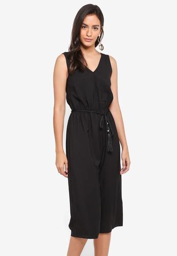 Dorothy Perkins black Tassel Belt Culotte Jumpsuit ACF84AA7DDB10CGS_1
