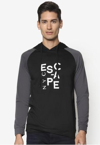 Eesprit分店地址scape Nyc 撞色拉克蘭連帽長袖衫, 服飾, 外套