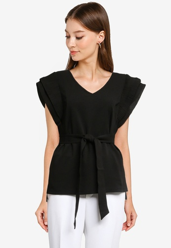 ZALORA OCCASION black Structured Sleeve Top 5011EAA045BEFFGS_1