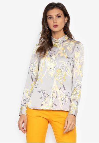 MARKS & SPENCER grey Floral Long Sleeve Satin Shirt 4D944AAC4C0515GS_1
