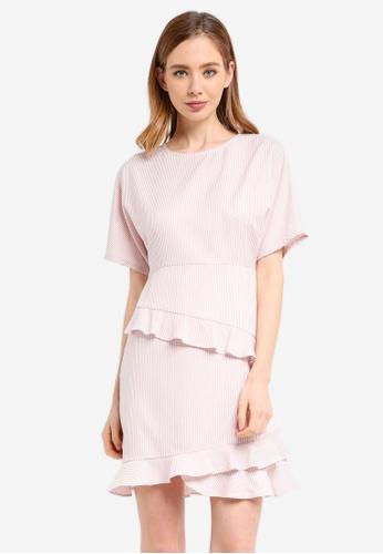 ZALORA pink Short Sleeve Frill Hem Dress E3976AAF33D906GS_1