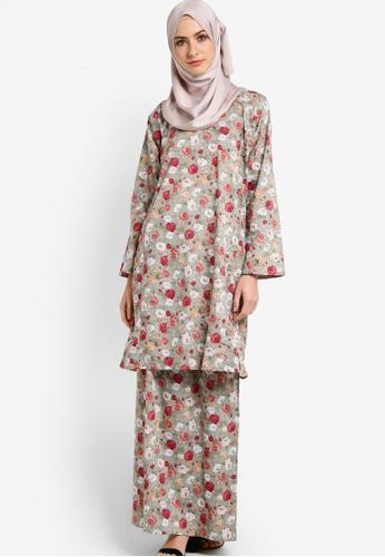 Azka Collection green and multi English Cotton Baju Kurung AZ019AA45LAWMY_1