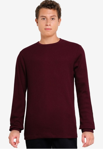 GAP red Waffle Crew Solid Sweater CCACDAA717E993GS_1