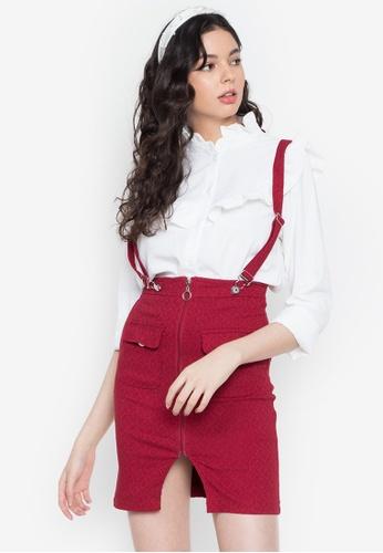 Ninety Nine Point Nine Boutiq red Network Pattern Suspender High Waist Skirt 04251AAEC3FE79GS_1