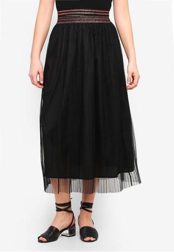 Something Borrowed black Metallic Stripe Trim Skirt B88B8AA6F09F61GS_1
