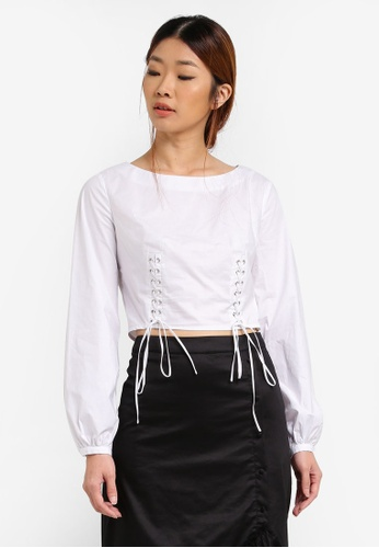 Something Borrowed white Waist Lace Up Long Sleeve Top 9B877AA55C74F1GS_1