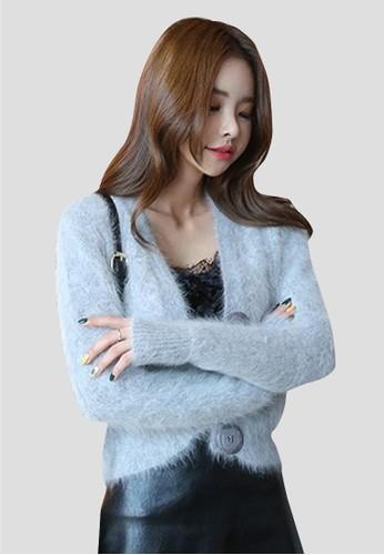 安哥拉大紐扣針織開衫, 服飾, 毛衣& 針esprit tw織外套