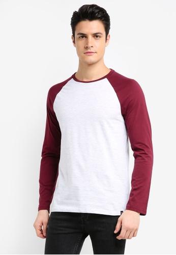 Burton Menswear London red Light Burgundy And Frost Long Sleeve Raglan T-Shirt 18F5DAAA0DA257GS_1