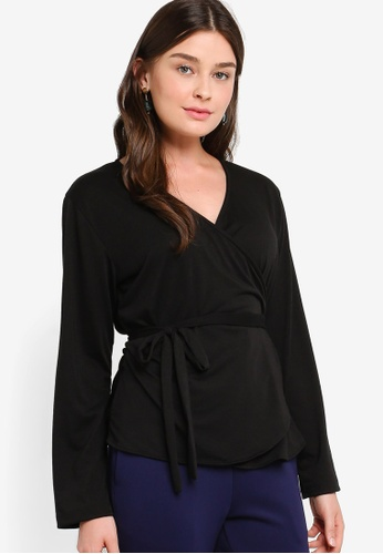 ZALIA BASICS 黑色 Long Sleeves Wrap Top B5DBBAAA826D3CGS_1