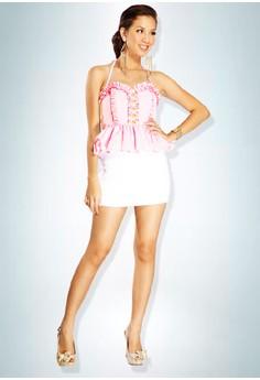 Devidasi Pink Sweetheart Halter Peplum Top
