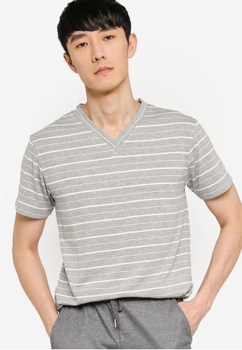 ZALORA BASICS grey and multi Striped V-Neck T-shirt 59F23AADD68854GS_1