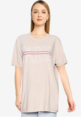MISSGUIDED beige Paris Graphic Oversized T-Shirt 7F3A6AA53BEF37GS_1