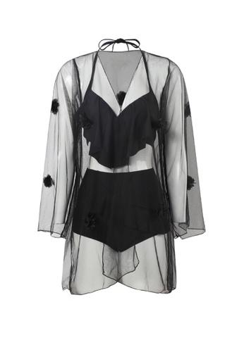 YG Fitness black (3PCS) Sexy Gauze Bikini Swimsuit 31E4AUSEA4CA30GS_1