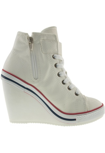 Maxstar white Maxstar Women's 777 One Buckle Strap PU High Wedge Heel Sneakers US Women Size MA164SH20PTNSG_1