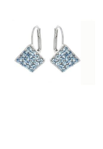 Glamorousky blue Elegant Rhombus Earrings with Blue Austrian Element Crystals D6CBBAC095DA22GS_1