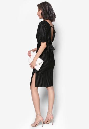 露背裹飾esprit旗艦店細條紋連身裙, 服飾, 洋裝