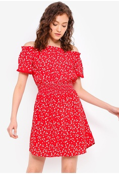 6701c47a41 Miss Selfridge red Petite Red Printed Bardot Dress 4A35BAA5C9FD2BGS 1