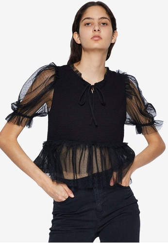 URBAN REVIVO black Tie Neck Tulle Top 99252AA3B4AEEFGS_1