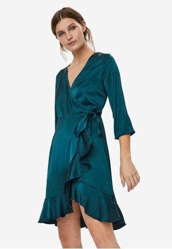 Vero Moda green Henna Satin 3/4 Wrap Dress 03CC0AAE7FE035GS_1