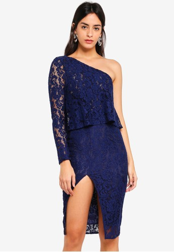 MISSGUIDED navy Lace One Shoulder Overlay Midi Dress 71CC8AA1F1D77AGS_1
