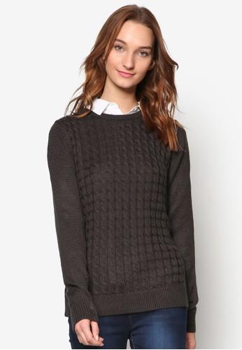 背部裹飾纜織暗紋羊毛長袖衫, 服飾, esprit outlet 旺角外套