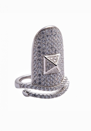 SHANTAL JEWELRY grey and silver Cubic Zirconia Silver Nail Ring SH814AC74ZABSG_1