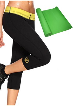 Hot Shapers Women's Pants Shapewear (Black) with FREE Yoga Mat (Green)