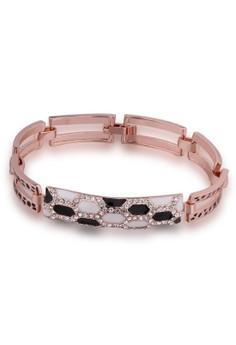 B068 Geometry Chain Plated Black Czech Bangle Bracelet