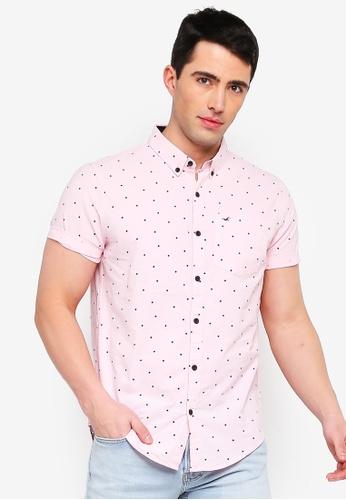 467757d8b4d8e4 Hollister pink Short Sleeve Slim Fit Poplin Shirt 141F8AAFEFAD28GS_1