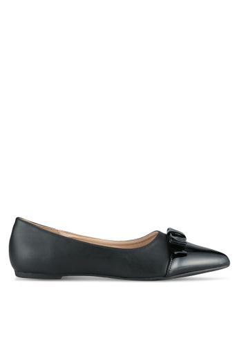 LOST INK black Whitney Bow Toe Cap Ballerinas LO238SH0SCMLMY_1