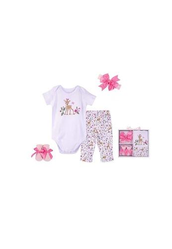 Little Kooma white Hudson Baby New Born Baby 4 Piece Layette Gift Set Deer 18422 56B42KCF5E6744GS_1