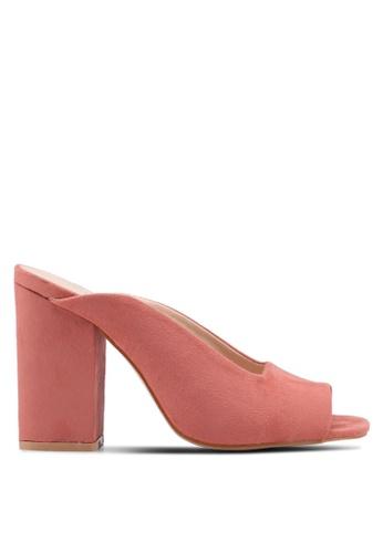 Public Desire 粉紅色 麂皮魚口粗跟穆勒鞋 A93CCSH5AFEFE9GS_1