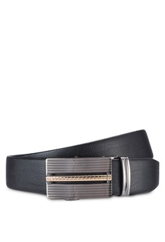 Black Leather Belt With Automatic Buckle