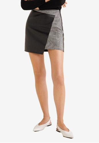 Mango black Wrap Contrast Skirt 61BBDAA2869171GS_1