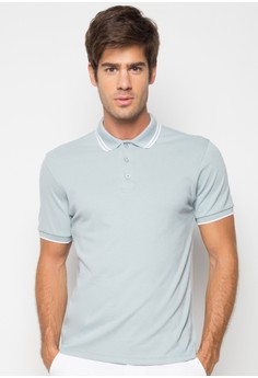 S/S M Polo Tee with Tipping on Collar and Cuff