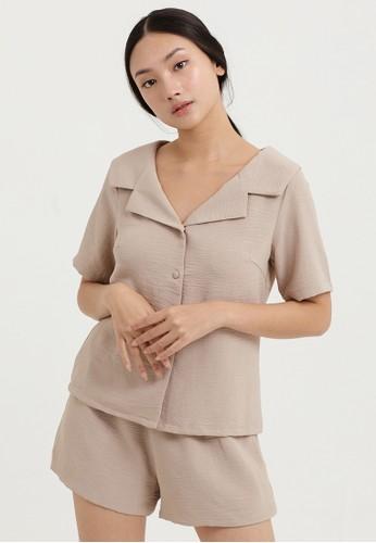 Cloth Inc beige Wide Collar Shirt in Khaki 69964AA3BEACCEGS_1
