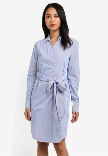 ONLY blue Rosel Wrap Stripe Dress 7E749AA71115E8GS_1
