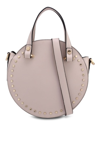 TOPSHOP beige Taylor Circle Studded Tote Bag CD729ACD60AE54GS_1
