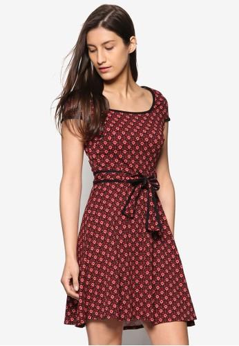 撞色碎花方領洋裝, 服飾,esprit台灣官網 洋裝