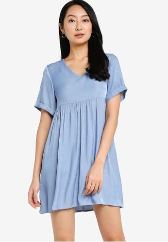 ZALORA BASICS blue Chambray V Neck Mini Dress F6A7CAA37FA18EGS_1