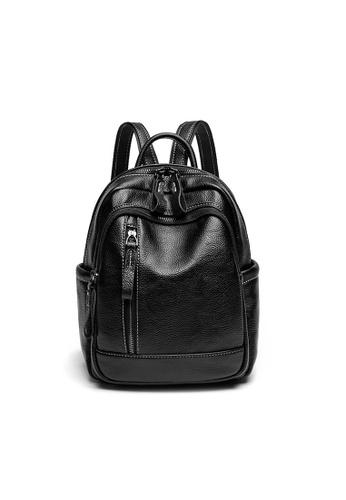 Lara 黑色 女士純色大容量百搭休閒書包背包 - 黑色 D77E8AC6E0B711GS_1