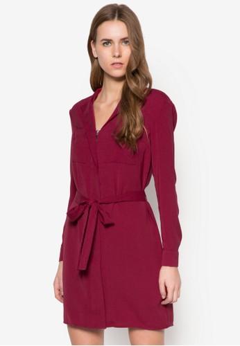 拉鍊腰帶長袖洋裝, esprit tw服飾, 服飾