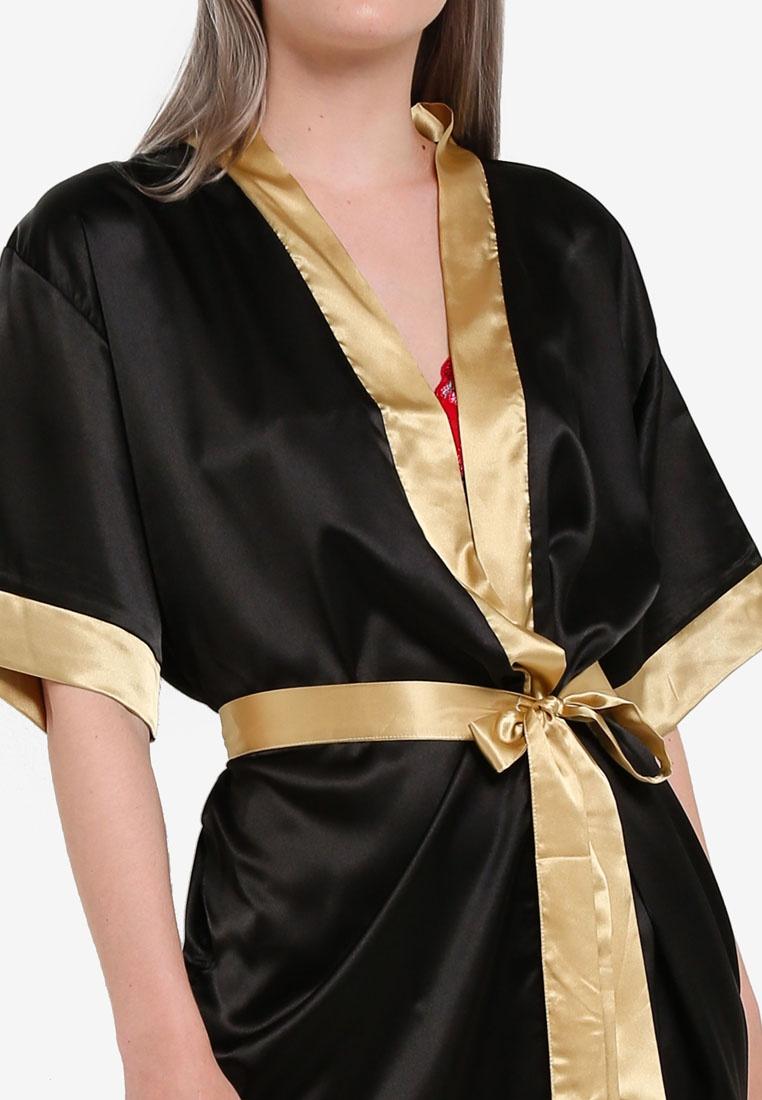 Satin Robe Satin Kimono Kimono Impression Robe Black Impression Black Kimono Satin Robe Impression qzY5Fw