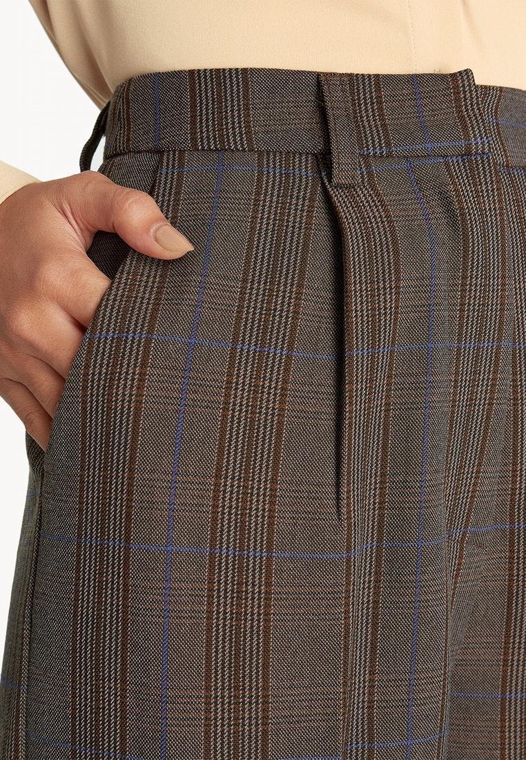 Brown Pomelo Culottes Brown Cuffed Plaid zHqYO